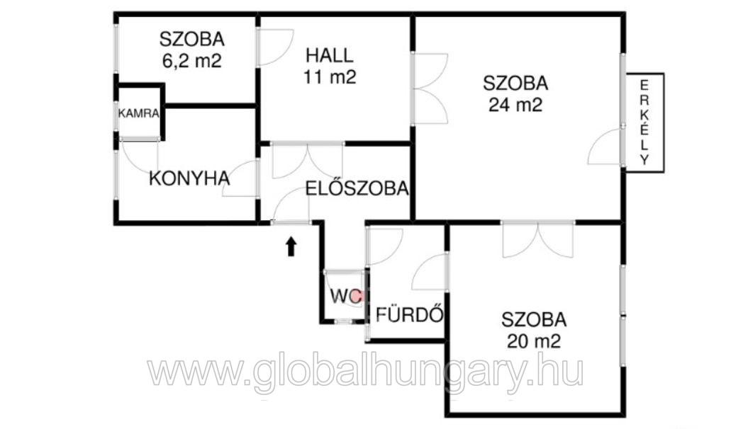 Felújított 83 nm-es, 3+1 fél szobás, erkélyes lakás