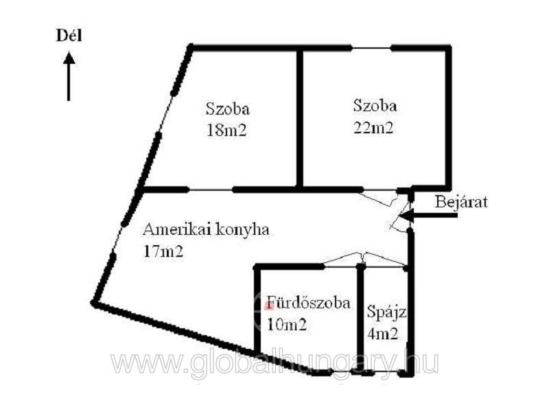 Kassa utcánál 71m2-es gázfűtéses tégla lakás eladó.