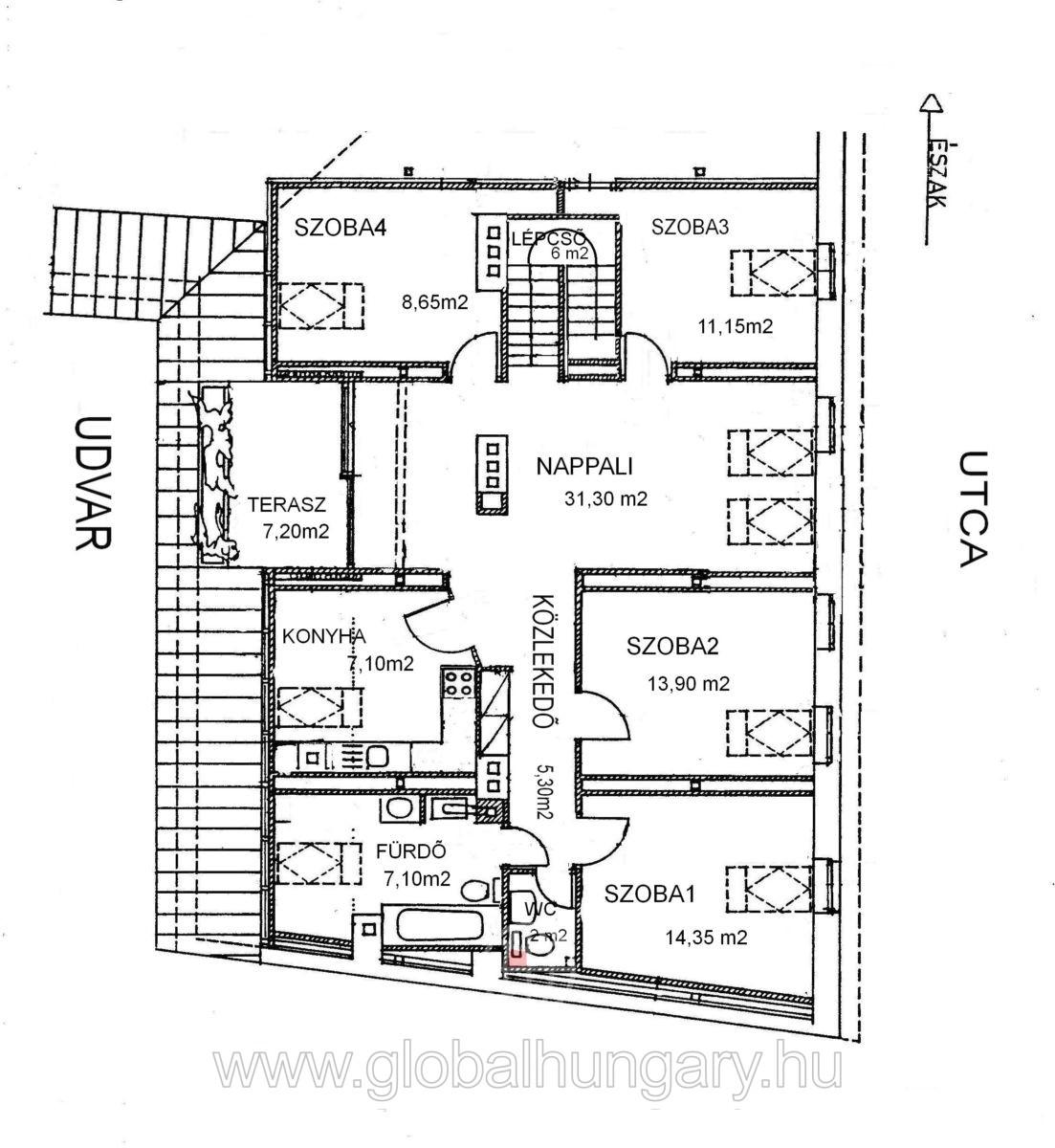 Széchenyi tértől 2 percre 110 nm-es, 5 szobás lakás